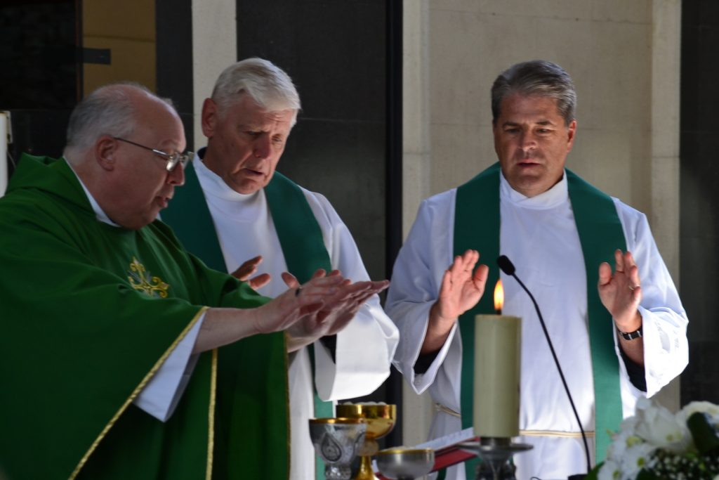 Celebrating the Eucharist at Our Lady of Mertixell in Andorra; Bishop Joseph Binzer, Fr. David Brinkmoeller and Fr. Tom Wray (CT Photo/Greg Hartman)