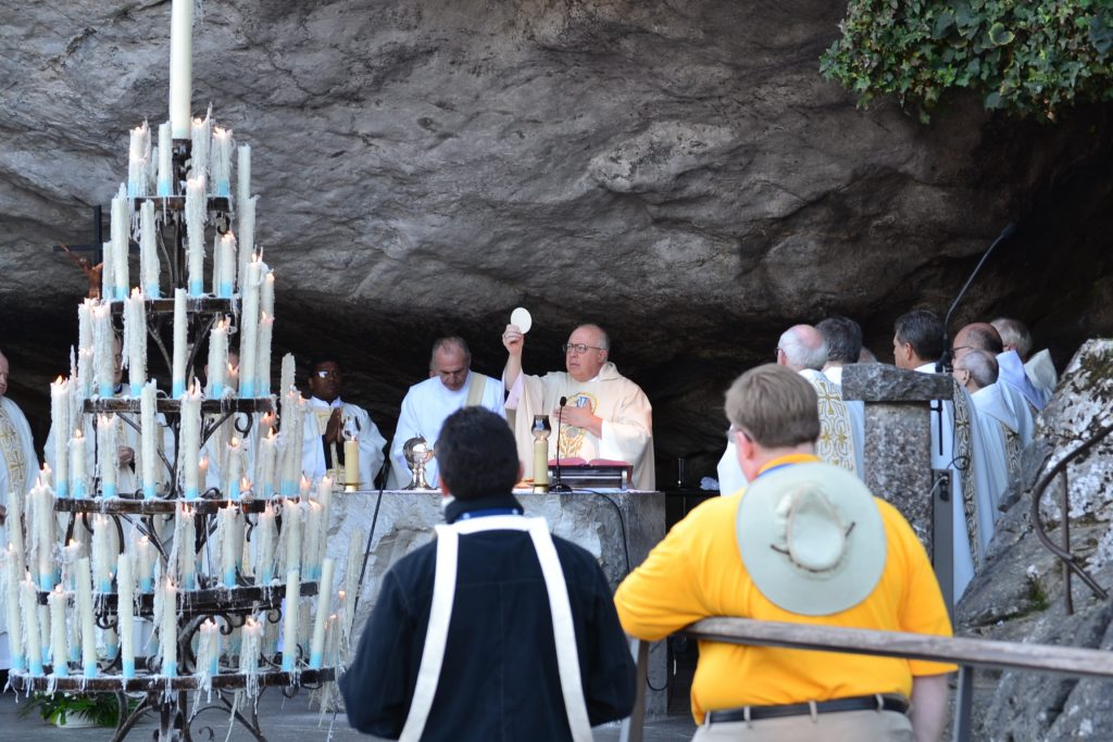 Eucharistic Prayer in the Grotto at Lourdes, September 29, 2017 (CT Photo/Greg Hartman)