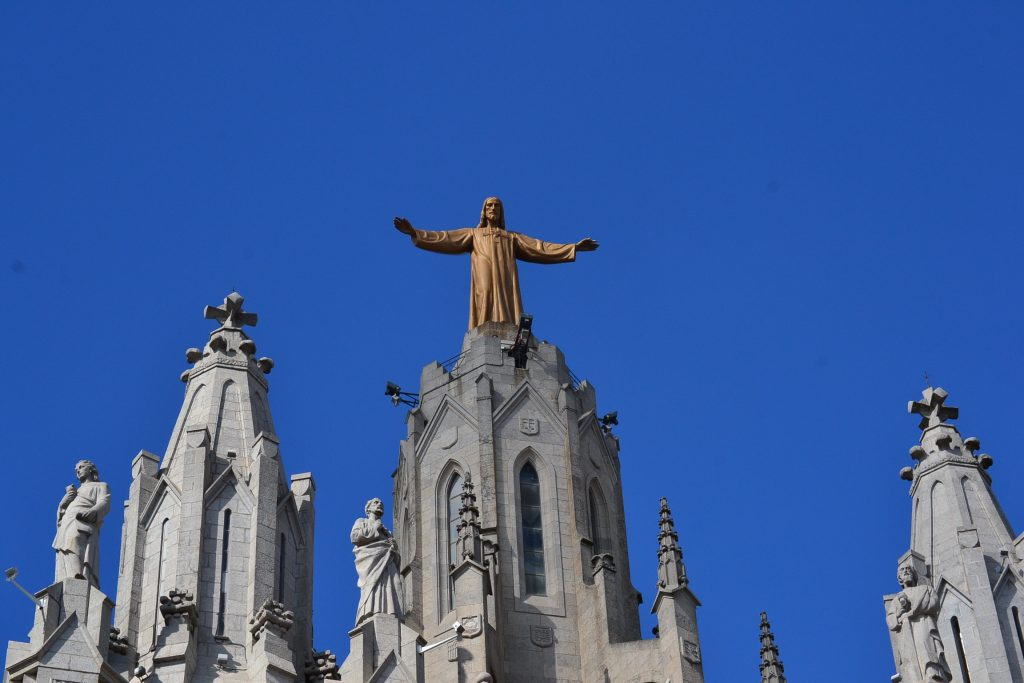 The great statue of Jesus above the Sacred Heart Basilica in Barcelona (CT Photo/Greg Hartman)