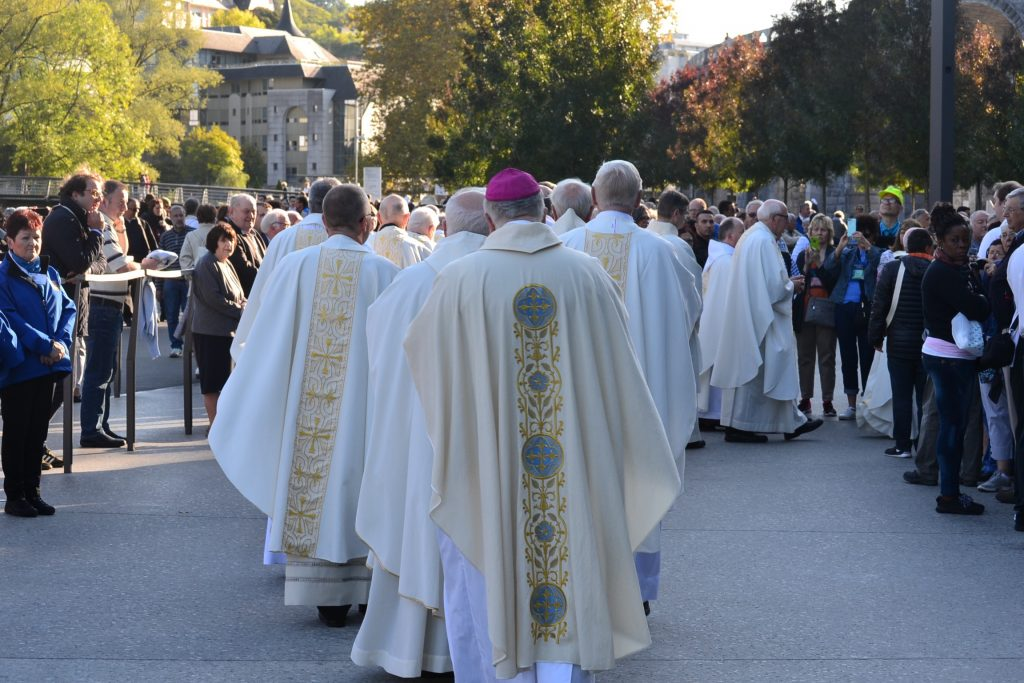 Procession of the English Speaking Mass at Lourdes France, September 29, 2017 (CT Photo/Greg Hartman)