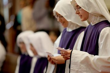 Sr. Antonetta Maria and Sr. Mary Consolata recite their intentions for the Ceremony of First Profession during the Feast of the Presentation of Mary at Our Lady of the Holy Spirit Center in Norwood Tuesday, Nov. 21, 2017. (CT Photo/E.L. Hubbard)