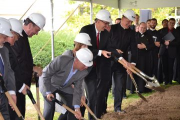 Groundbreaking ceremonies for the expansion of Mount Saint Mary's Seminary, November 2, 2017. (CT Photo/Greg Hartman)