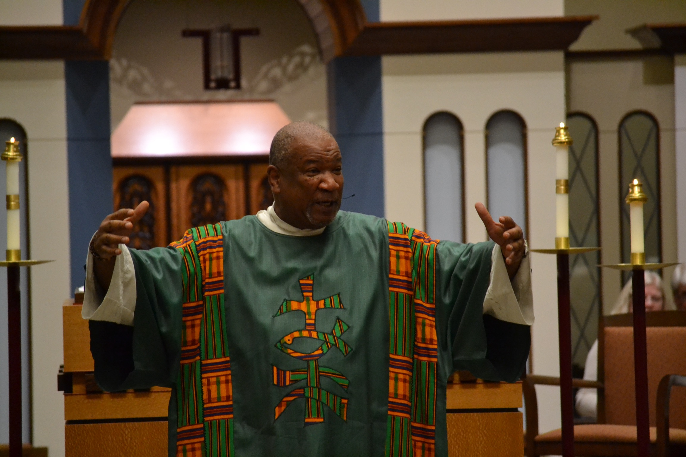 Deacon Royce Winters preaching at the Black Catholic History Mass at the University of Dayton (CT Photo/Greg Hartman)