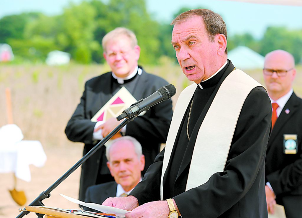 Archbishop Dennis Schnurr speaks during the ground breaking for the new St. John the Baptist Church in Harrison Sunday, Sept. 17, 2017. (CT Photo/E.L. Hubbard)
