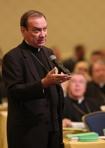 Archbishop Dennis M. Schnurr of Cincinnati speaks Nov. 13 during the fall general assembly of the U.S. Conference of Catholic Bishops in Baltimore. (CNS photo/Bob Roller)