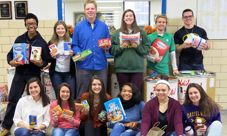 Chaminade Julienne Students collected food for the less fortunate.