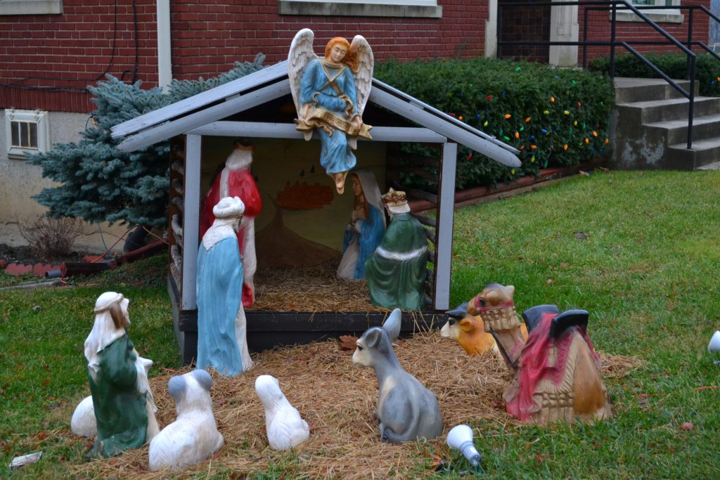 The Nativity awaits the arrival of the Baby Jesus at St. Rose (CT Photo/Greg Hartman)