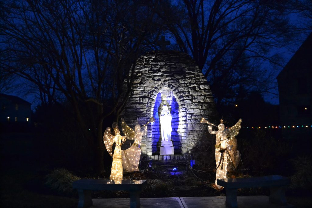 The Grotto bathed in light at Guardian Angels. (CT Photo/Greg Hartman)