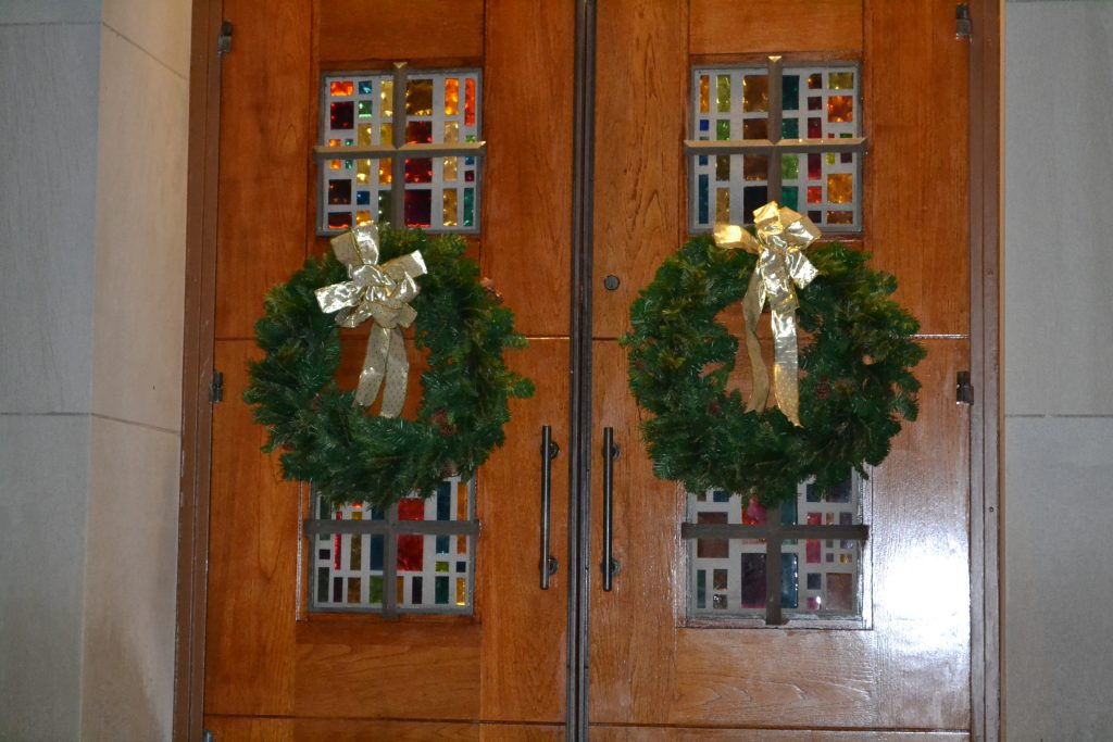 Decorations almost complete for the Joyous Season of Christmas at Guardian Angels (CT Photo/Greg Hartman)