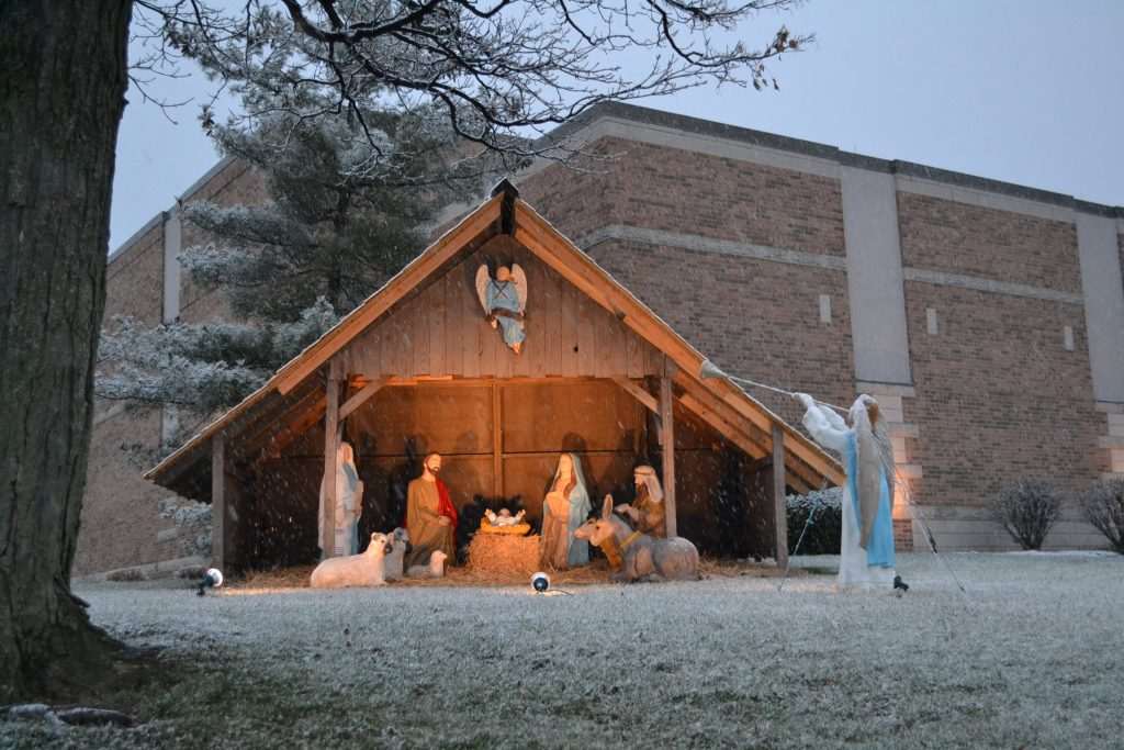 At St James the Greater in White Oak, The Nativity was bathed in Christmas Eve Snow (CT Photo/Greg Hartman)