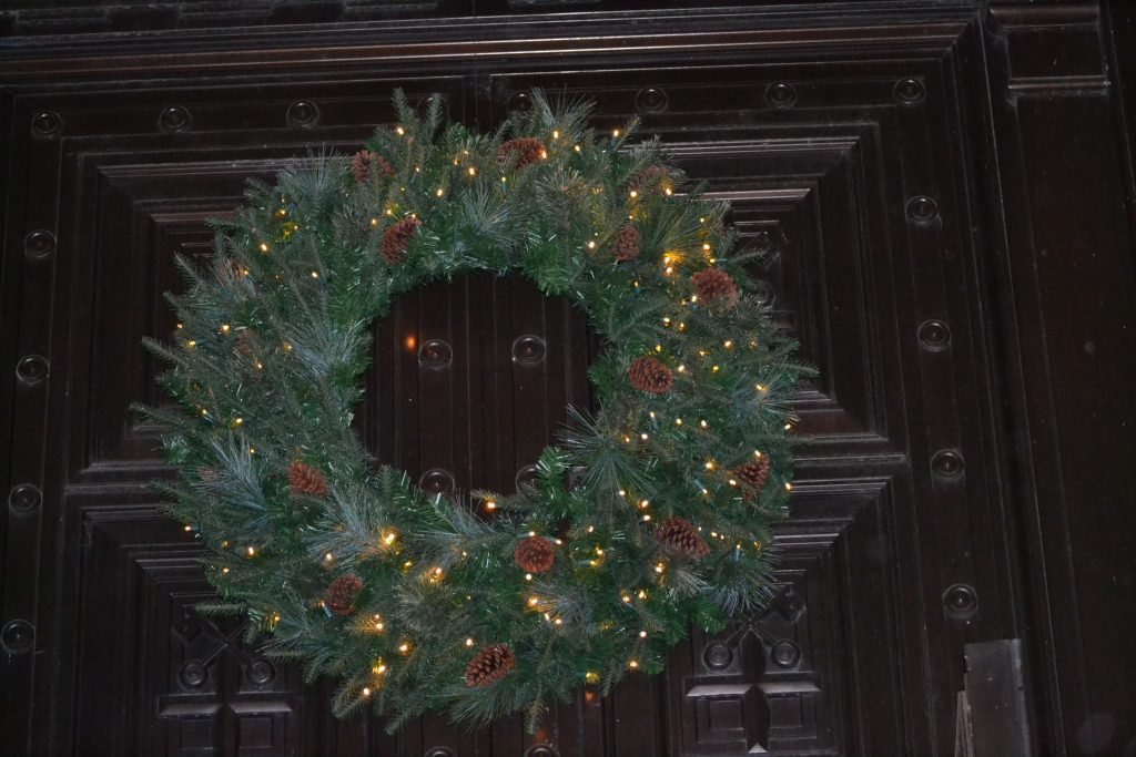 A wreath adorns the entrance to St. Peter in Chains Cathedral on a cold winters night (CT Photo/Greg Hartman)