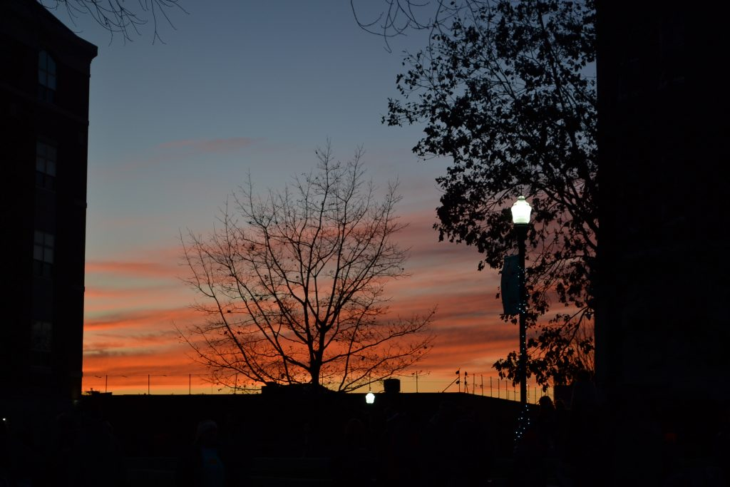 A glorious sunset was the setting for Christmas at UD (CT Photo/Greg Hartman)