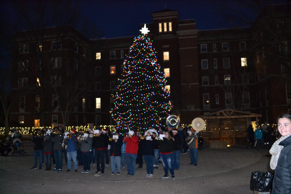 UD Band lines up for entertainment beneath the Christmas Tree. (CT Photo/Greg Hartman)