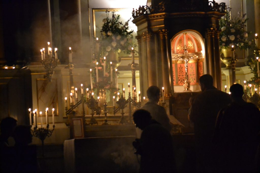 Where Darkness, light, and fragrance collide during the Rorate Mass (CT Photo/Greg Hartman)