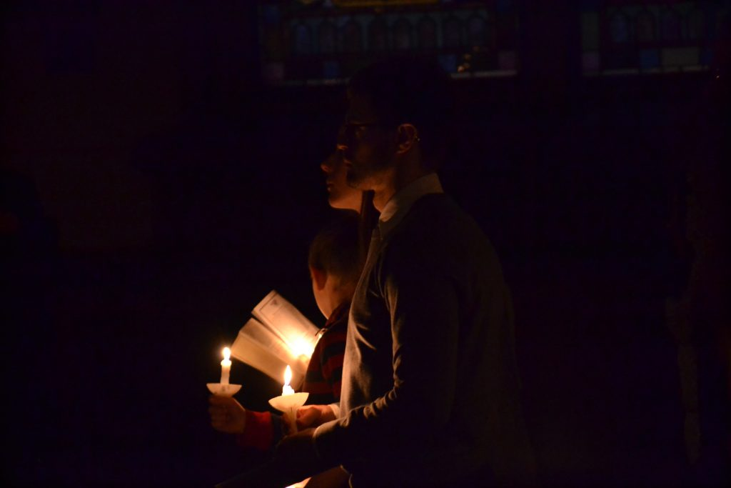 The faithful pray on a cold late fall morning at Old Saint Mary (CT Photo/Greg Hartman)