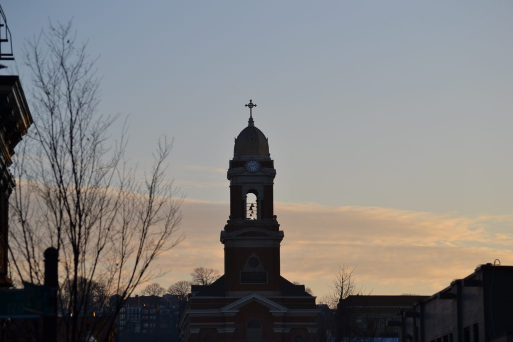 The Verdin Bell Company bathed in morning daylight, which used to be Saint Paul's Church. (CT Photo/Greg Hartman)