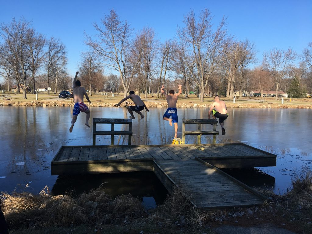 The annual New Year's plunge in Fort Loramie began 2017. (Courtesy Photo)