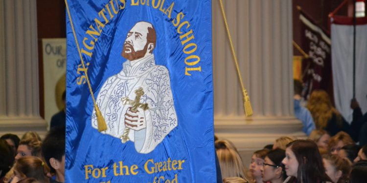 St. Ignatius Loyola during Procession of Banners (CT Photo/Greg Hartman)