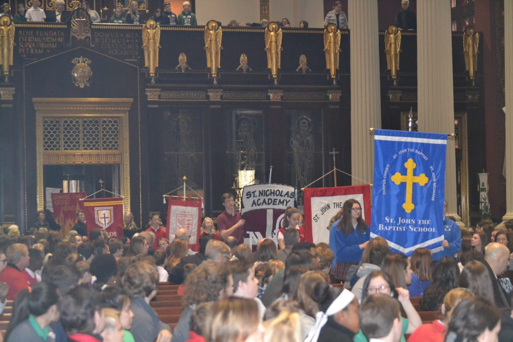 A highlight of Catholic Schools Week is the annual Catholic Schools week Mass at St. Peter in Chains Cathedral (CT Photo/Greg Hartman)