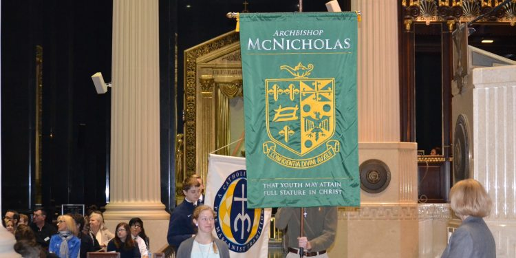Archbishop McNicholas High School represented in the Procession of Banners (CT Photo/Greg Hartman)