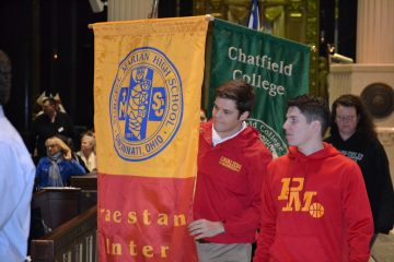 Purcell Marian High School in the Procession of School Banners (CT Photo/Greg Hartman)