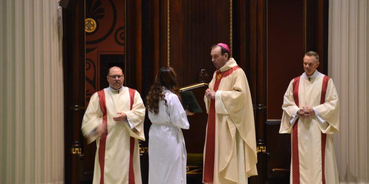 Archbishop Dennis M. Schnurr during opening prayer of the 2018 Catholic Schools Week Mass (CT Photo/Greg Hartman)