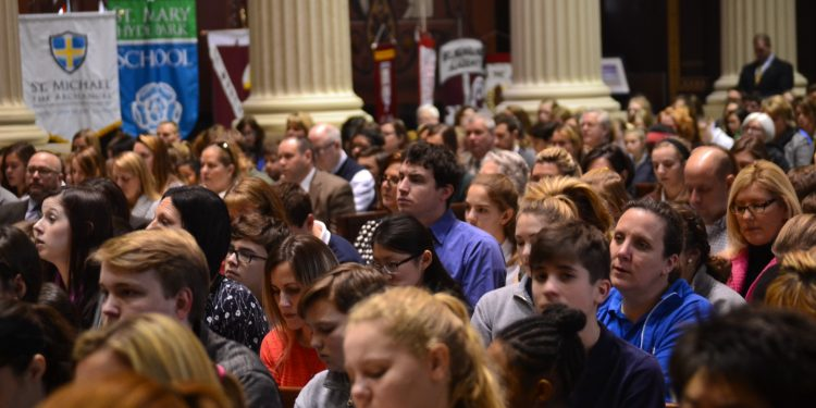 The Cathedral was filled for Catholic Schools Week Mass 2018. (CT Photo/Greg Hartman)