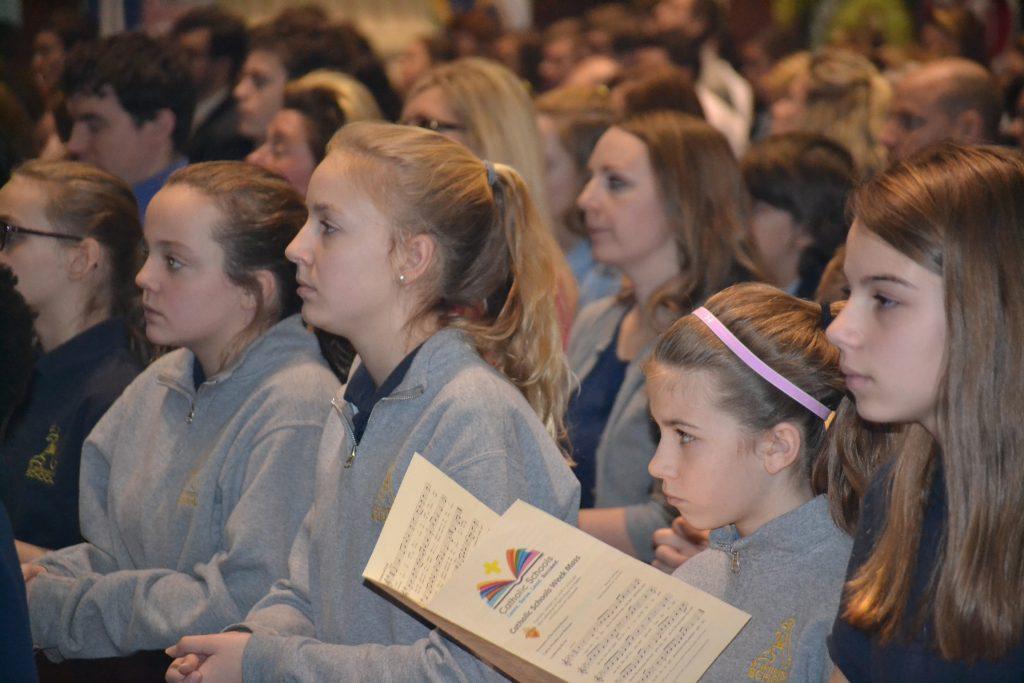 Students participate in the 2018 Catholic Schools Week Mass (CT Photo/Greg Hartman)
