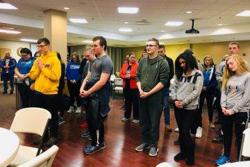 Lehman High School prepares in prayer before departure for Washington DC (Courtesy Photo)