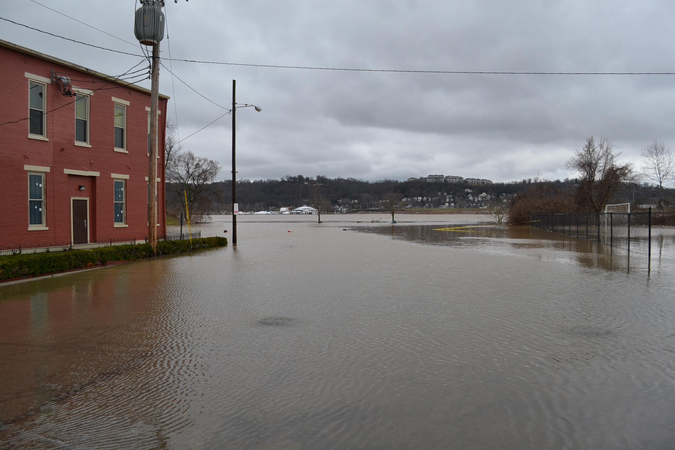 The Ohio River is up to the drive toward he lower parking lot during Flood 2018. (CT Photo/Greg Hartman)