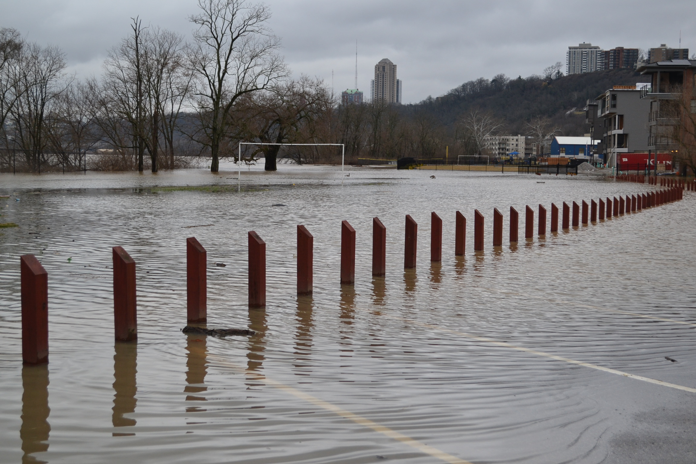 The soccer field just west of St. Rose under floodwaters. (CT Photo/Greg Hartman)