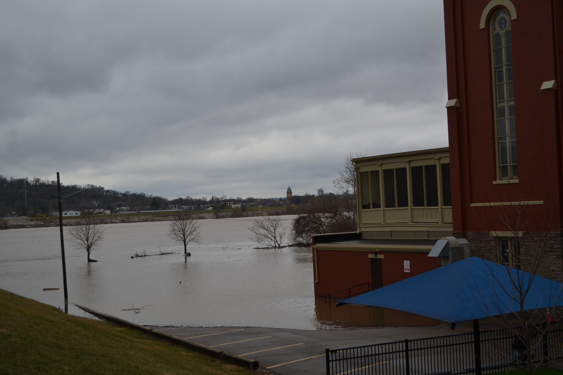 The lower part of St. Rose Church is engulfed in water. Looking southward toward Dayton, KY. (CT Photo/Greg Hartman)
