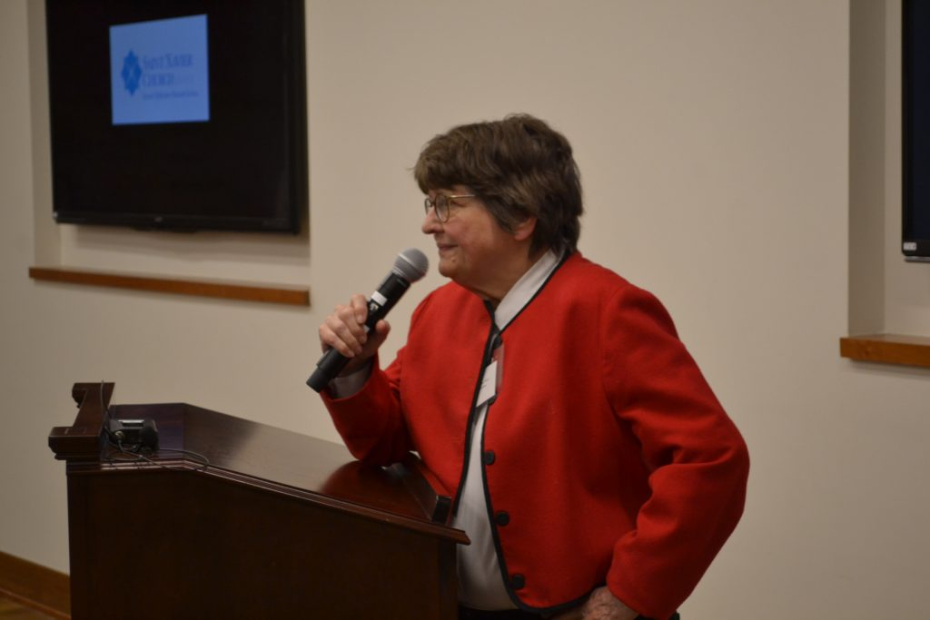 Sister Helen Prejean speaking to the 74th annual Salesian Guild (CT Photo/Greg Hartman)
