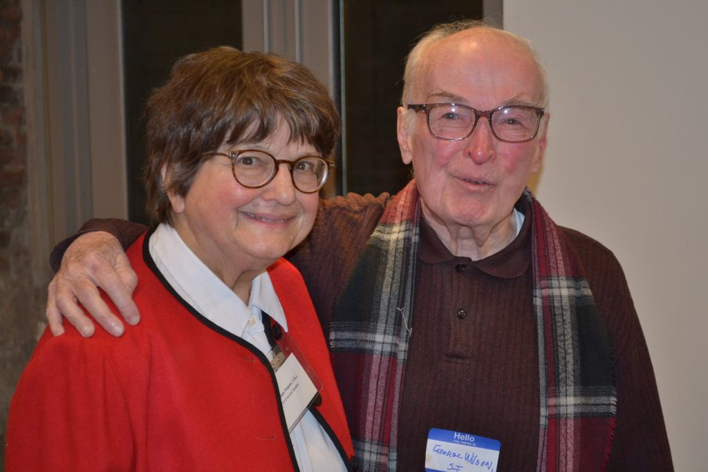 Sister Helen Prejean and as she said with a good friend and mentor, Father George Wilson SJ (CT Photo/Greg Hartman)