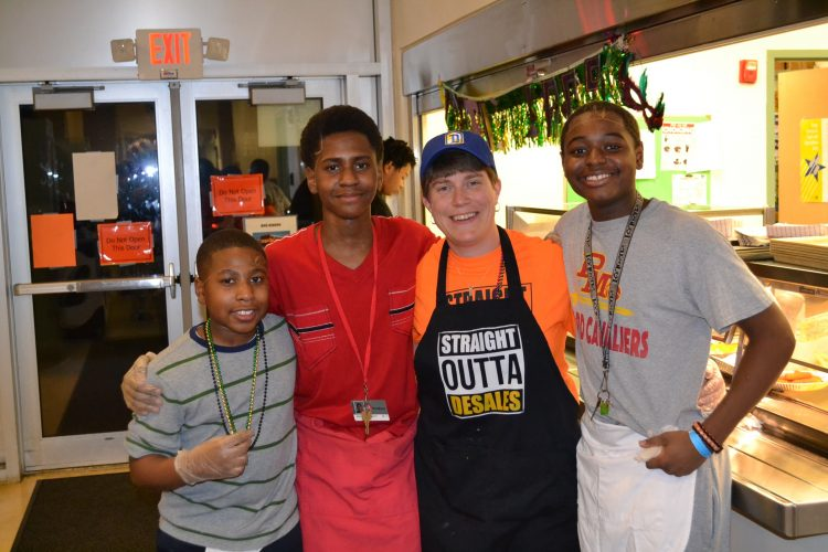 St. Francis DeSales Fish Fry Friday. From left to right Daniel Powell, Markus Adam-Scott, Principal Joanne Browarsky and Isaiah Smiley. (CT Photo/Greg Hartman)