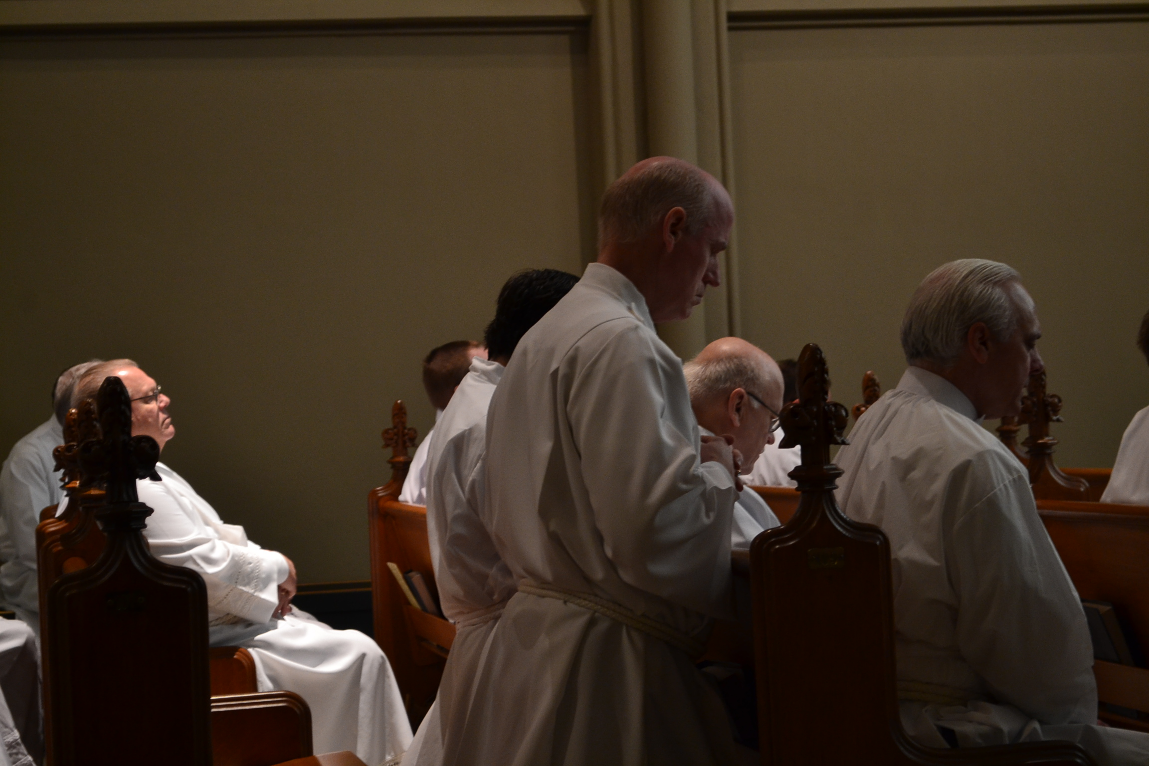 Praying before Mass in the Blessed Sacrament Chapel. (CT Photo./Greg Hartman)