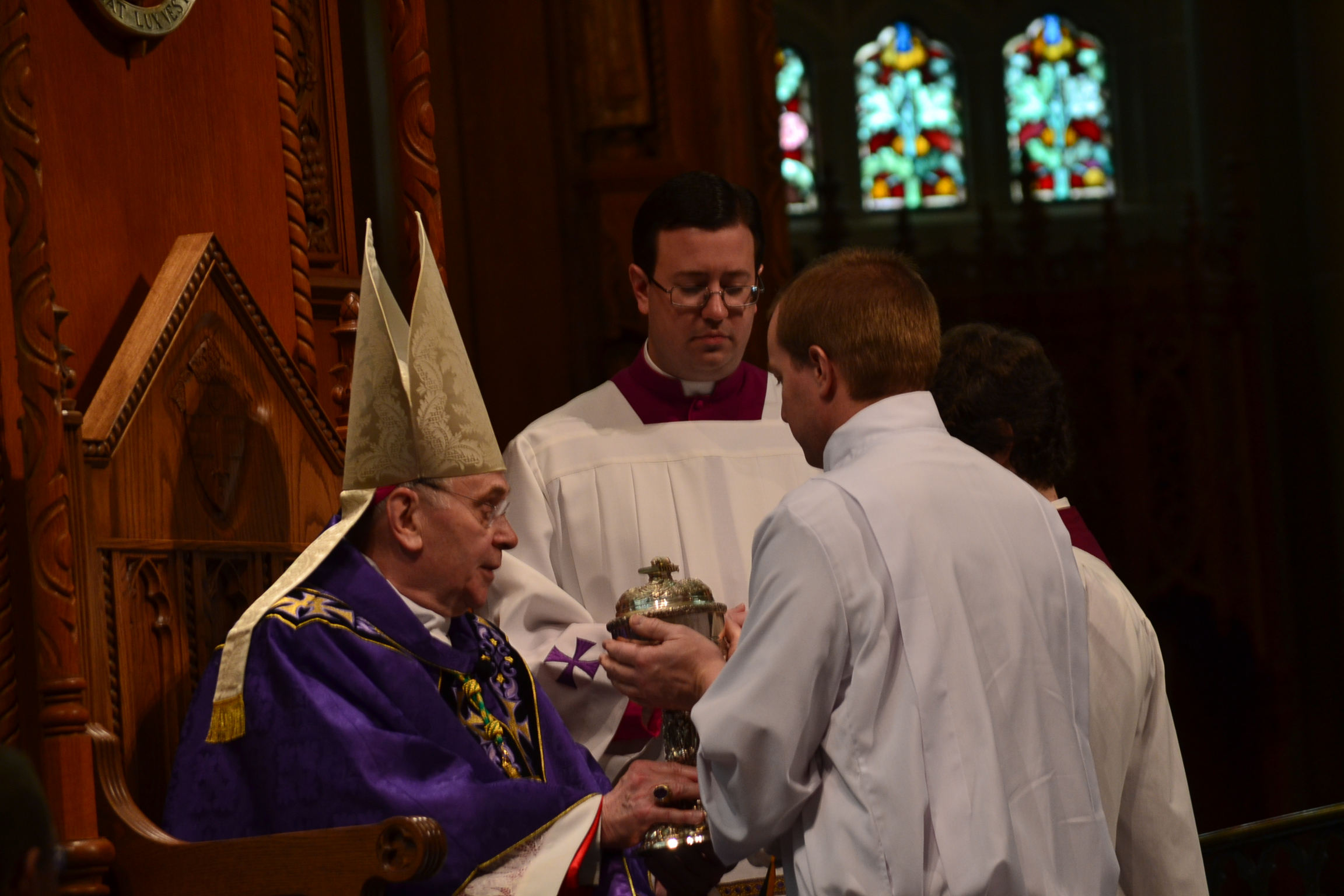 Being presented as Acolyte from Bishop Roger Foys (CT Photo/Greg Hartman)