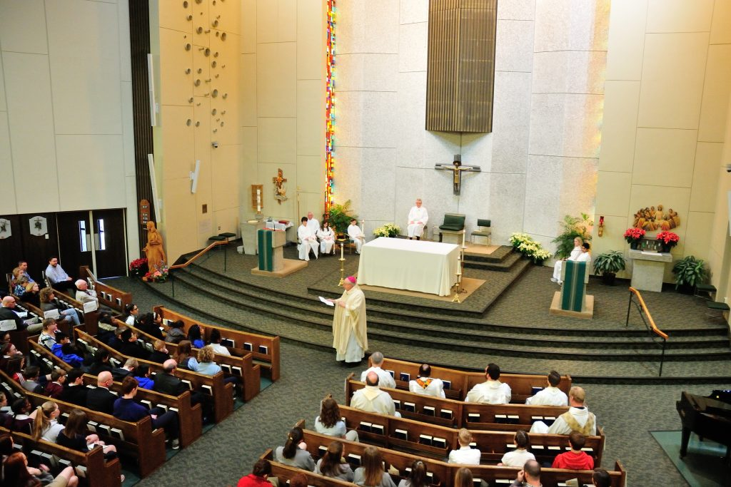 Bishop Joseph Binzer's homily to students, faculty, and staff at the Catholic Schools Week Mass at Incarnation. (CT Photo/Jeff Unroe)