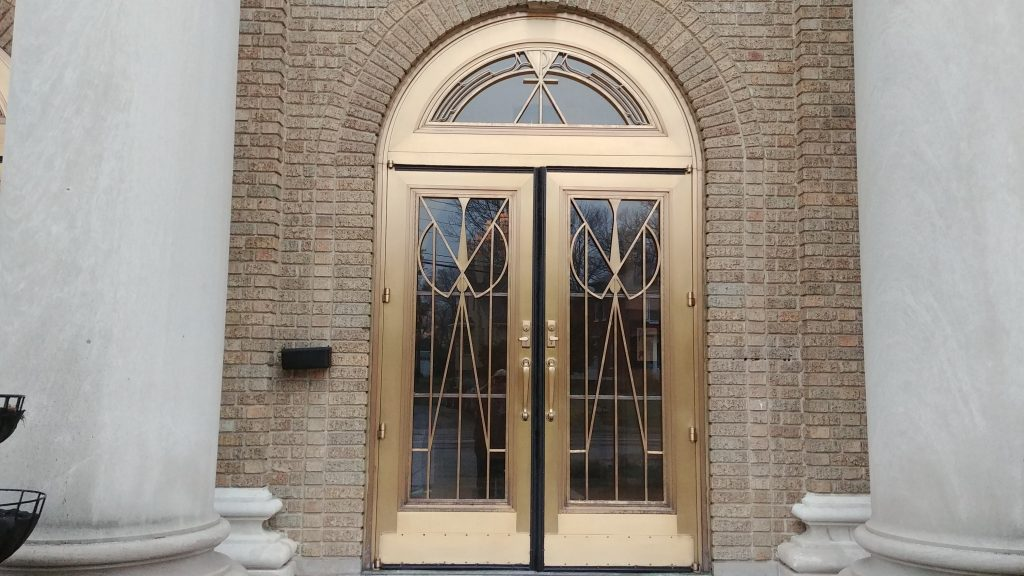 The doors at St. Martin of Tours Parish in Cheviot on Holy Thursday Morning. (CT Photo/Greg Hartman)