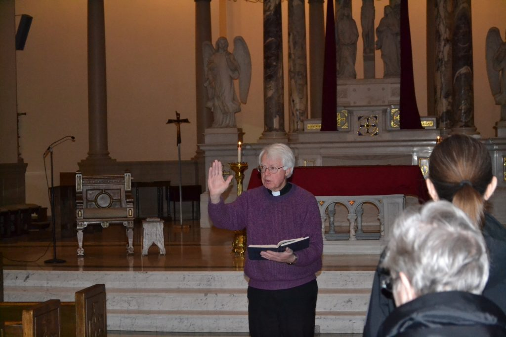 Fr. Terence Hamilton leads Morning Prayer at St. Martin of Tours on Holy Thursday Morning. (CT Photo/Greg Hartman)