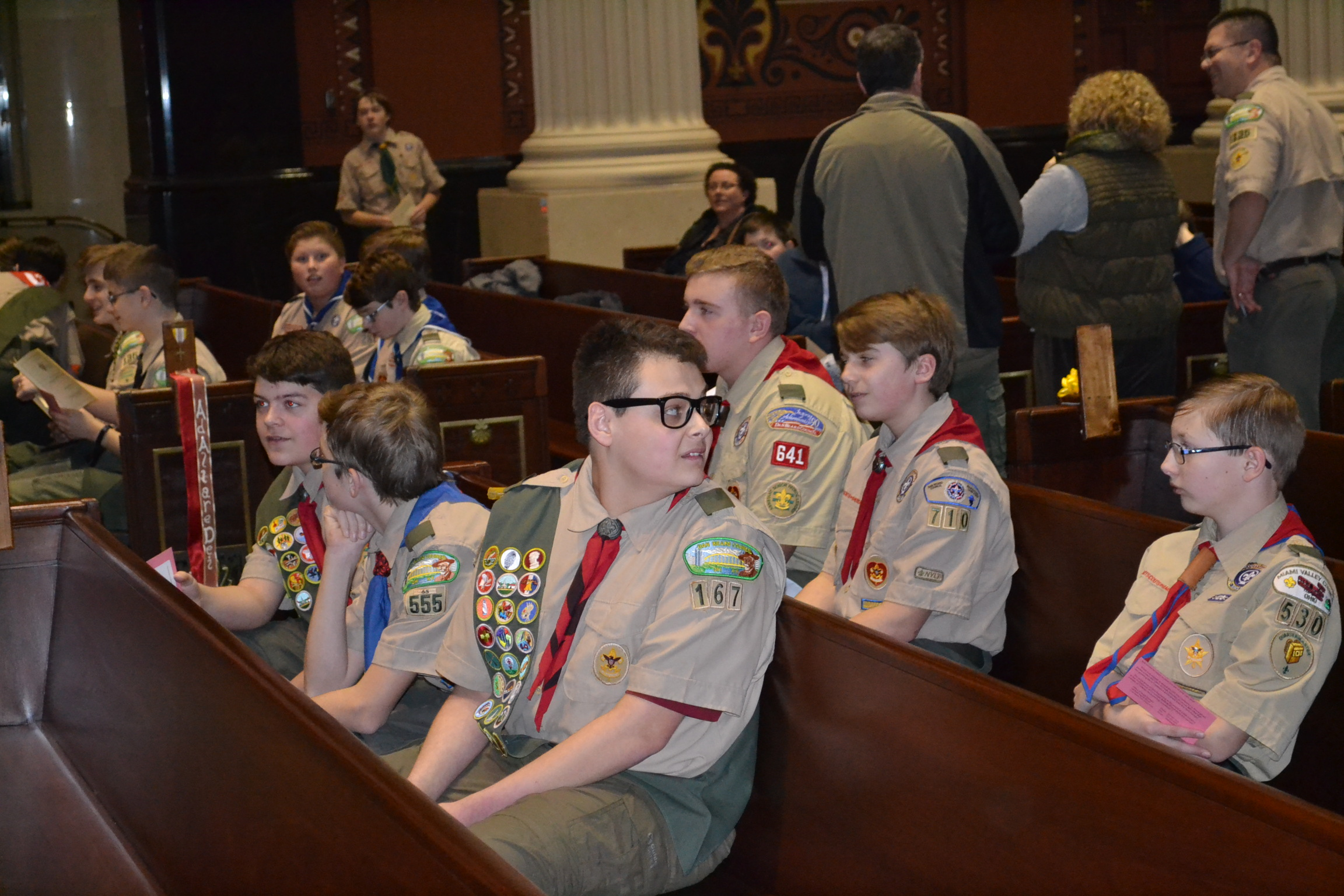 Boy Scouts gather at the Cathedral for the Emblems and Awards ceremony. (CT Photo/Greg Hartman)
