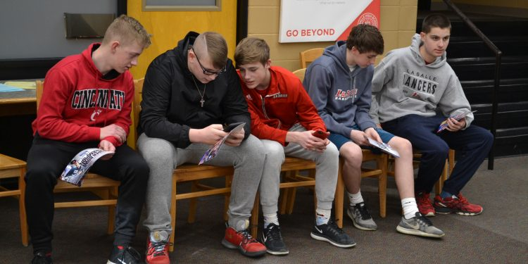 La Salle High School students patiently await the arrival of Brent Celek (CT Photo/Greg Hartman)