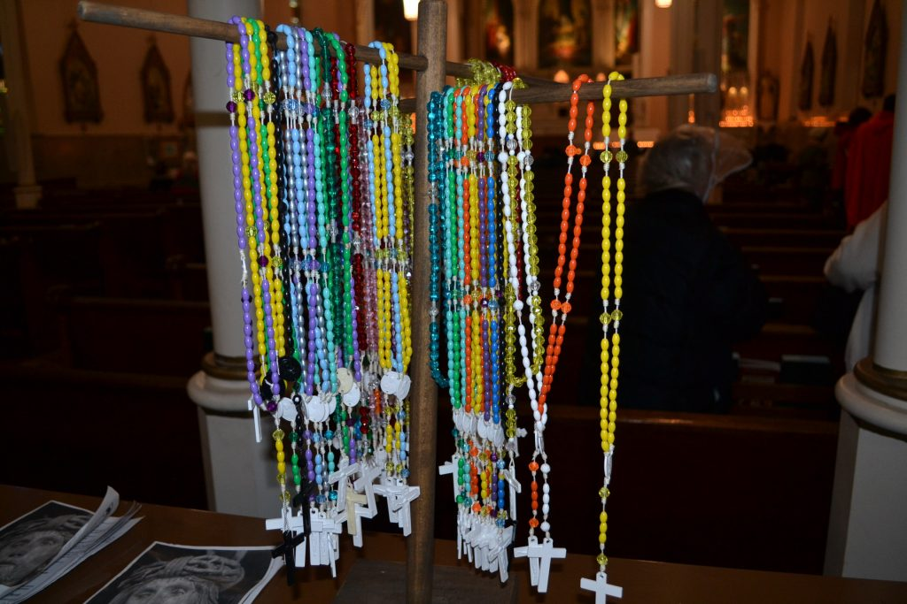 Rosaries awaited pilgrims as they entered Holy Cross Immaculata on Good Friday (CT Photo/Greg Hartman)