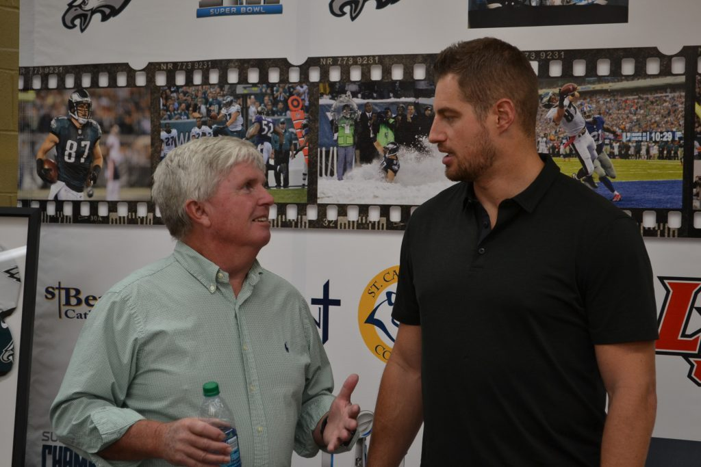 Brent Celek and Dan Flynn '74, La Salle High School Advancement Director during Brent's meet and greet at La Salle (CT Photo/Greg Hartman)