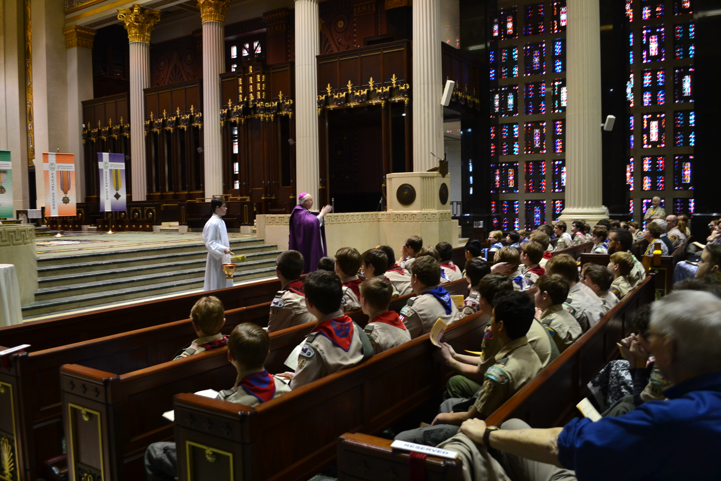 Bishop Joseph Binzer addresses the participants and family members at the 2018 Religious Emblems Ceremony (CT Photo/Greg Hartman)