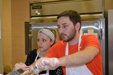Sarah Rose Sperduto (Coordinator of Youth & Young Adults and her fiance - J.P. Bort at St. Cecilia Fish Fry (CT Photo/Greg Hartman)