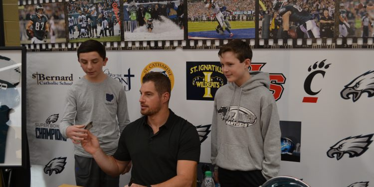 St. James students and future Lancers? meet with Brent Celek (CT Photo/Greg Hartman)