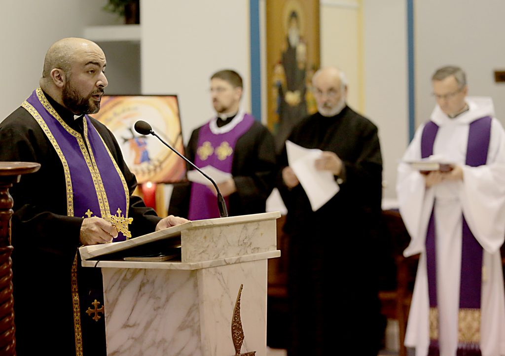 Fr. George Hajj speaks during the Lenten Prayer Service for Christian Unity and Religious Freedom at St. Anthony of Padua Maronite Catholic Church in Cincinnati Saturday, Mar. 10, 2018. (CT Photo/E.L. Hubbard)