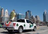 The statue of St. Patrick leads the annual St. Patrick's Day Parade in Cincinnati Saturday, Mar. 10, 2018. (CT Photo/E.L. Hubbard)