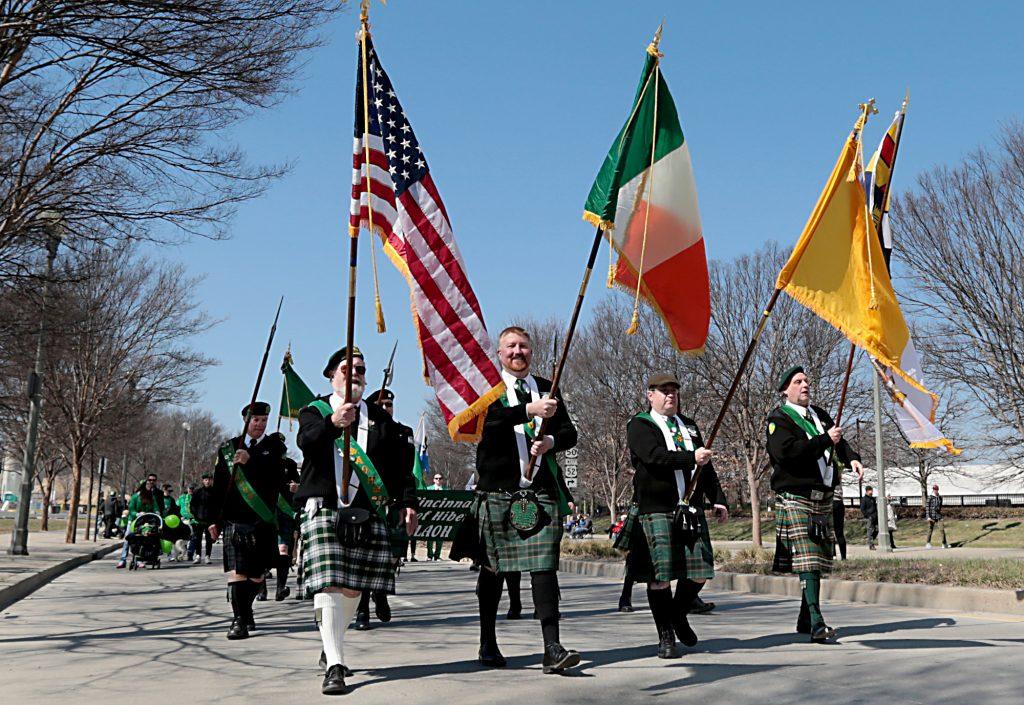 The Greater Cincinnati Ancient Order of Hibernians march in the annual St. Patrick's Day Parade in Cincinnati Saturday, Mar. 10, 2018. (CT Photo/E.L. Hubbard)